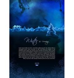 Watercolor winter night flyer vector
