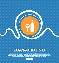 Wine icon sign blue and white abstract background vector