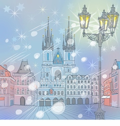winter Christmas Old Town square in Prague vector image vector image