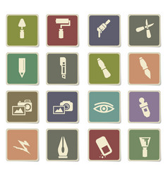 art tools icon set vector image