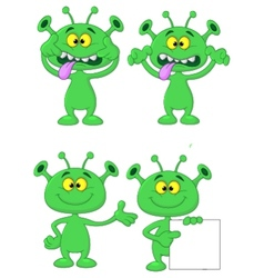 Cute geen alien cartoon collection set vector