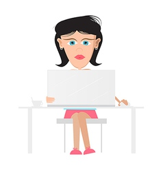 Secretary business woman sitting in office working vector