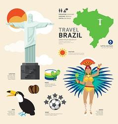 Travel concept brazil landmark flat icons design vector