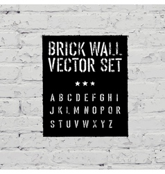 Brick wall and stencil alphabet set vector