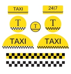 Set of taxi objects and symbols vector