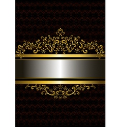 Gold frame in the old style with the frizzy forms vector image