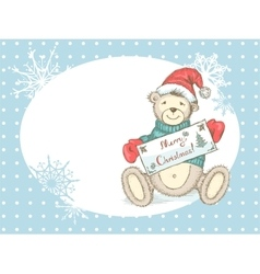 Christmas card with toy bear in santa hat vector