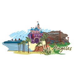 Los angeles doodles vector