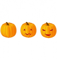 Three halloween pumpkins vector