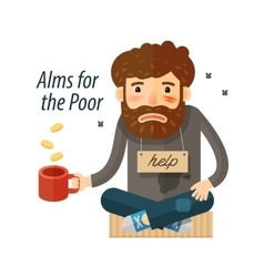 Beggar asking for money pauper bum icon vector