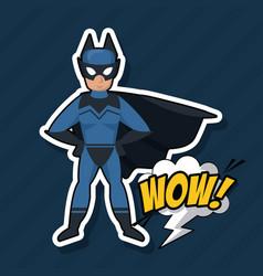 bat superhero cartoon vector image