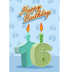 Birthday candle number 16 with flame vector image vector image