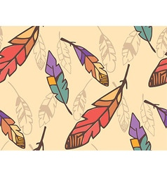 Bohemian colorful feathers seamless pattern vector image