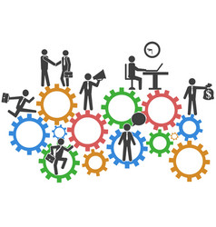business people teamwork on mechanism gears vector image