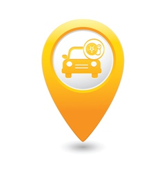 car with wheel pump icon map pointer yellow vector image