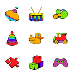 Children toy icons set cartoon style vector