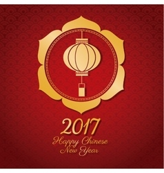 Chinese new year 2017 lantern gold frame vector