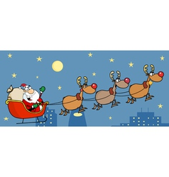 christmas santa sleigh and reindeer vector image