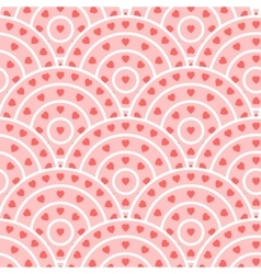Circle With Heart Shape Seamless Pattern vector image vector image