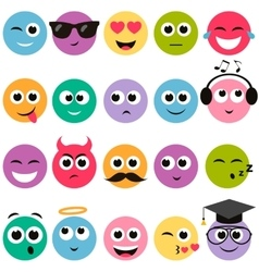 colorful smiley faces set vector image