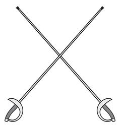 crossed fencing swords vector image vector image