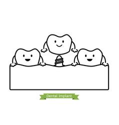 Dental implant - cartoon outline style vector