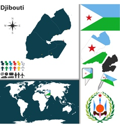 Djibouti map world vector image vector image