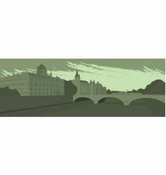 Embankment and bridge of the big city vector