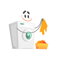 Funny washing machine character with smiling face vector