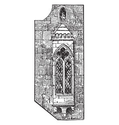 Gothic oriel window or cantilupe chantry house vector