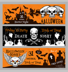 Halloween party banners for friday 13 night vector
