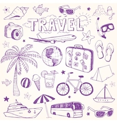 Hand drawn beach and travel doodles vector