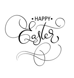 happy easter text on white background vector image