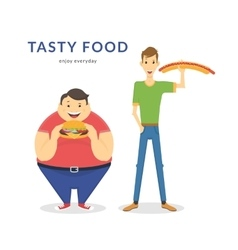 Happy fat and thin men eating a big food vector