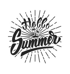 Hello summer hand drawn lettering phrase isolated vector