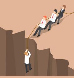 Isometric business team help partner climb up vector