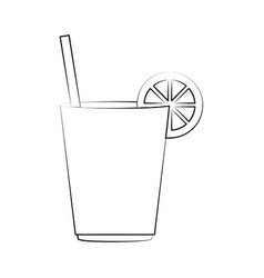 Juice cup wit lime garnish icon image vector