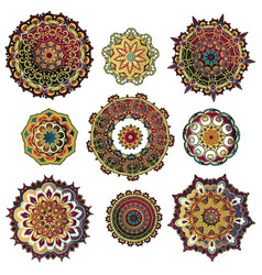 mandala colorful set vector image