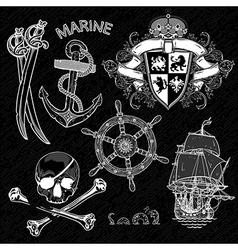 Marine design elements vector