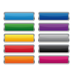 Metallic rectangular buttons vector image