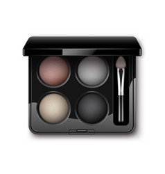 multicolored eye shadows with makeup brush vector image