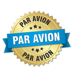 Par avion 3d gold badge with blue ribbon vector