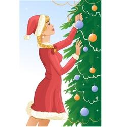 Santa girl decorates a christams tree with balls vector