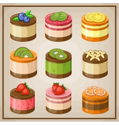 Set cupcakes vector image vector image