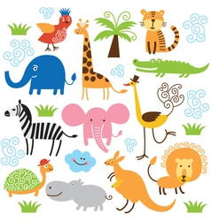 set of cute tropical animals vector image vector image