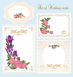Set of Wedding Greeting Invitation cards vector image