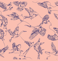 Single line bird drawings seamless pattern vector