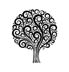 tree in a flower design with swirls and flourishes vector image