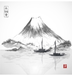 Two fishing boats and Fujiyama mountain vector image