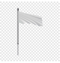 White flag on flagpole flying in the wind mockup vector